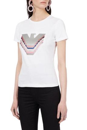 Emporio Armani Kadın Beyaz Payetli Bisiklet Yaka Pamuklu T Shirt 0