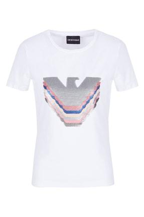Emporio Armani Kadın Beyaz Payetli Bisiklet Yaka Pamuklu T Shirt 3