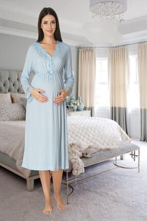 Effort Pijama Zerre Bebe Kadın Mavi Uzun Kollu Pijama Takımı Gecelik Sabahlık Lohusa Hamile 4'lü Set 1
