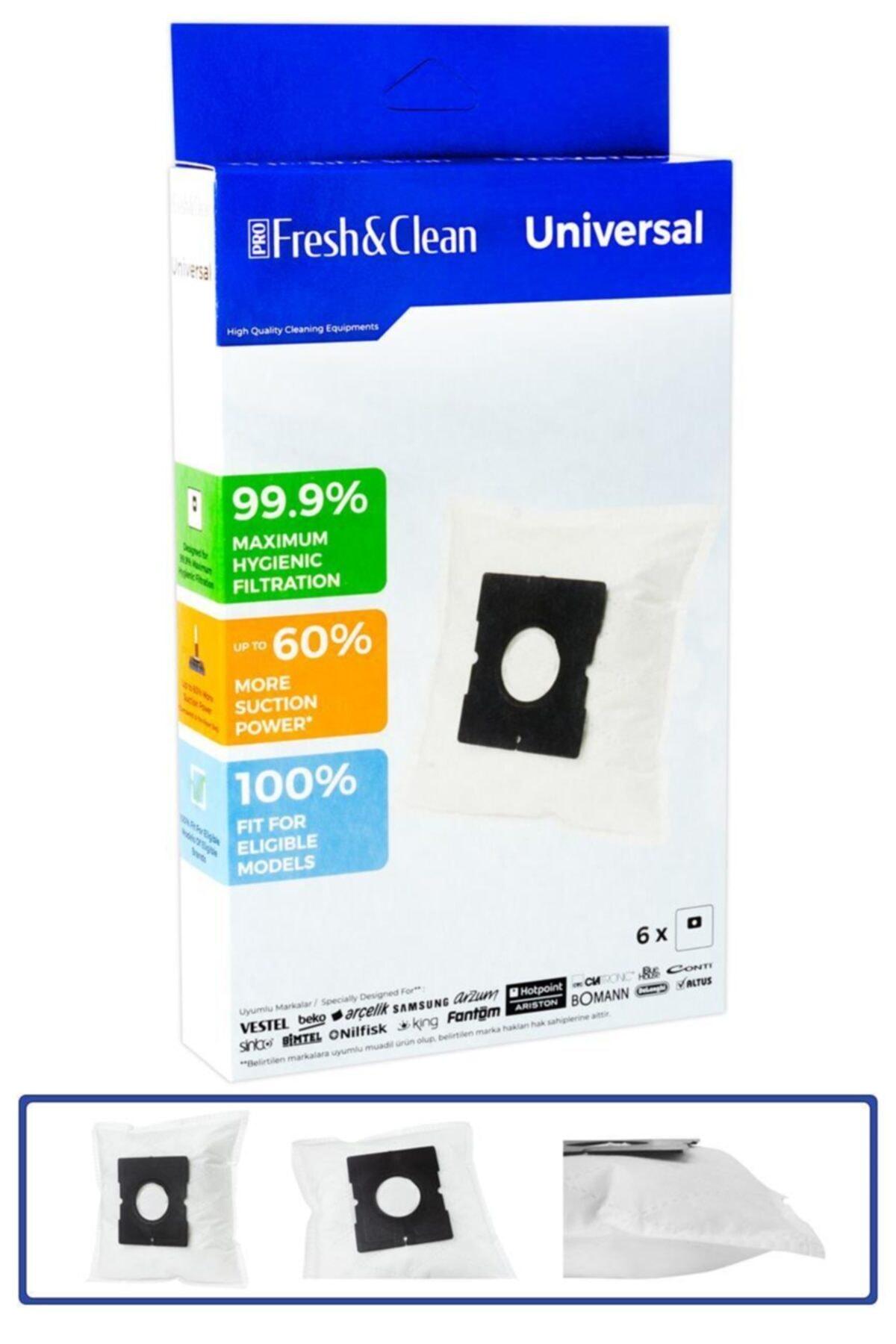 Pro Fresh & Clean Vestel Meltem 3000 Uyumlu Bez Toz Torbası 6'lı