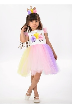 Buse&Eylül Bebe Kız Çocuk Beyaz Unicorn Figürlü Taçlı Elbise 1