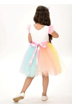 Buse&Eylül Bebe Kız Çocuk Beyaz Unicorn Figürlü Taçlı Elbise 4