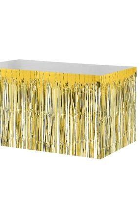 Kelebek Oyuncak Metalik Folyo Gold (altın Sarısı) Püskül Masa Eteği 75x400 Cm 1