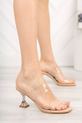 meyra'nın ayakkabıları Kadın Ten Şeffaf Bant Ve Şampanya Topuklu Ayakkabı 3
