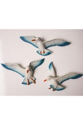Crey Hediyelik Üçlü Kuş Duvar Süsü, Üç Boyutlu Martı, Dekoratif Aksesuar, Balkon Süsü, Bahçe Süsü, Hediyelik Eşya 0