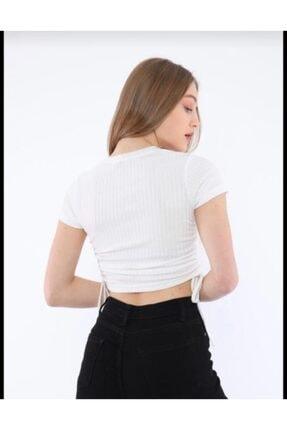 VAAV BUTİK Kadın Beyaz Yanları Büzgülü Crop Fit T-shirt 1