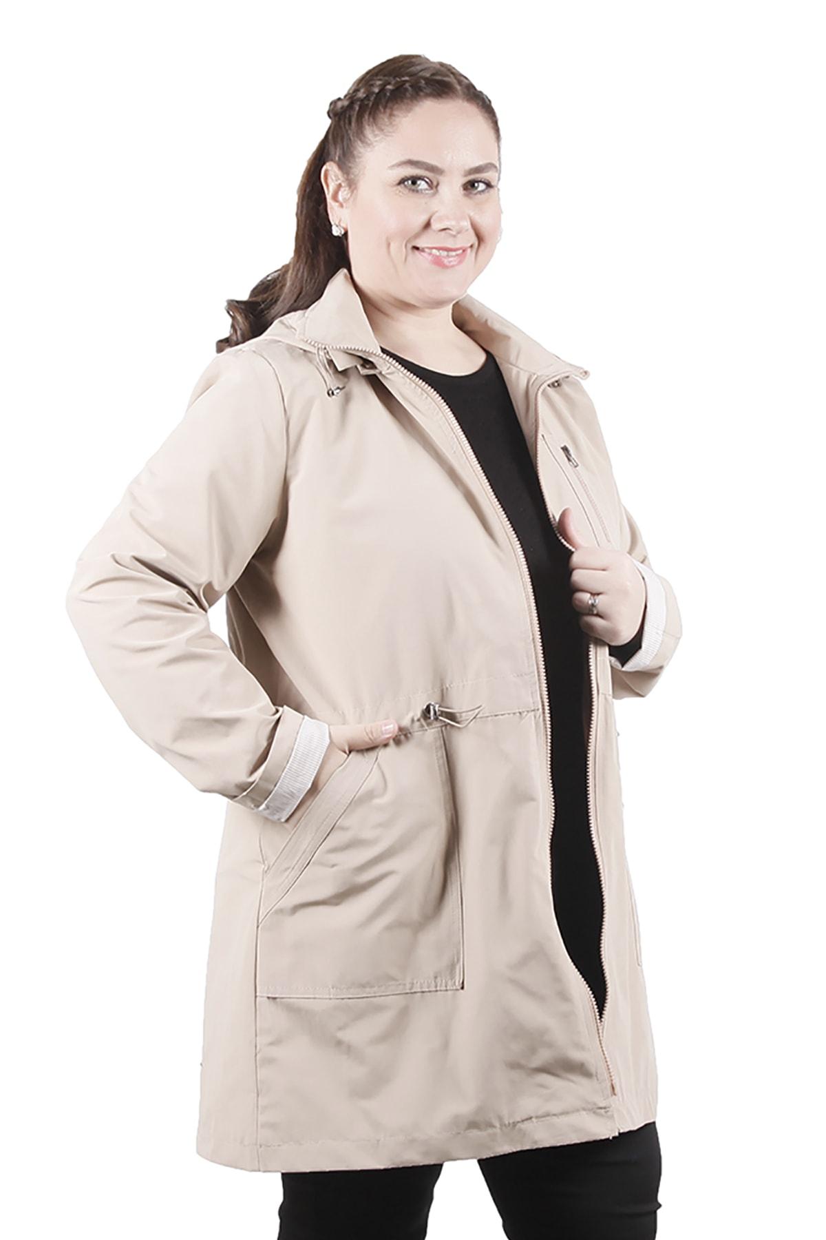 Rmg Kadın Büyük Beden Trençkot 9731 Krem/Cream 20S49009731 2