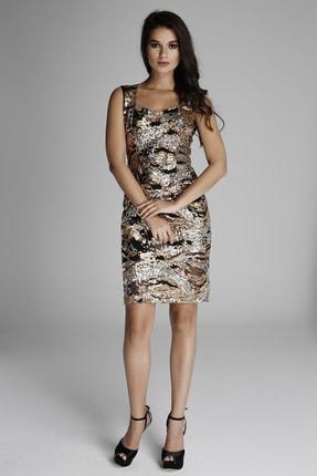 Kadın Altın Rengi Pul Payet Elbise 14L1231