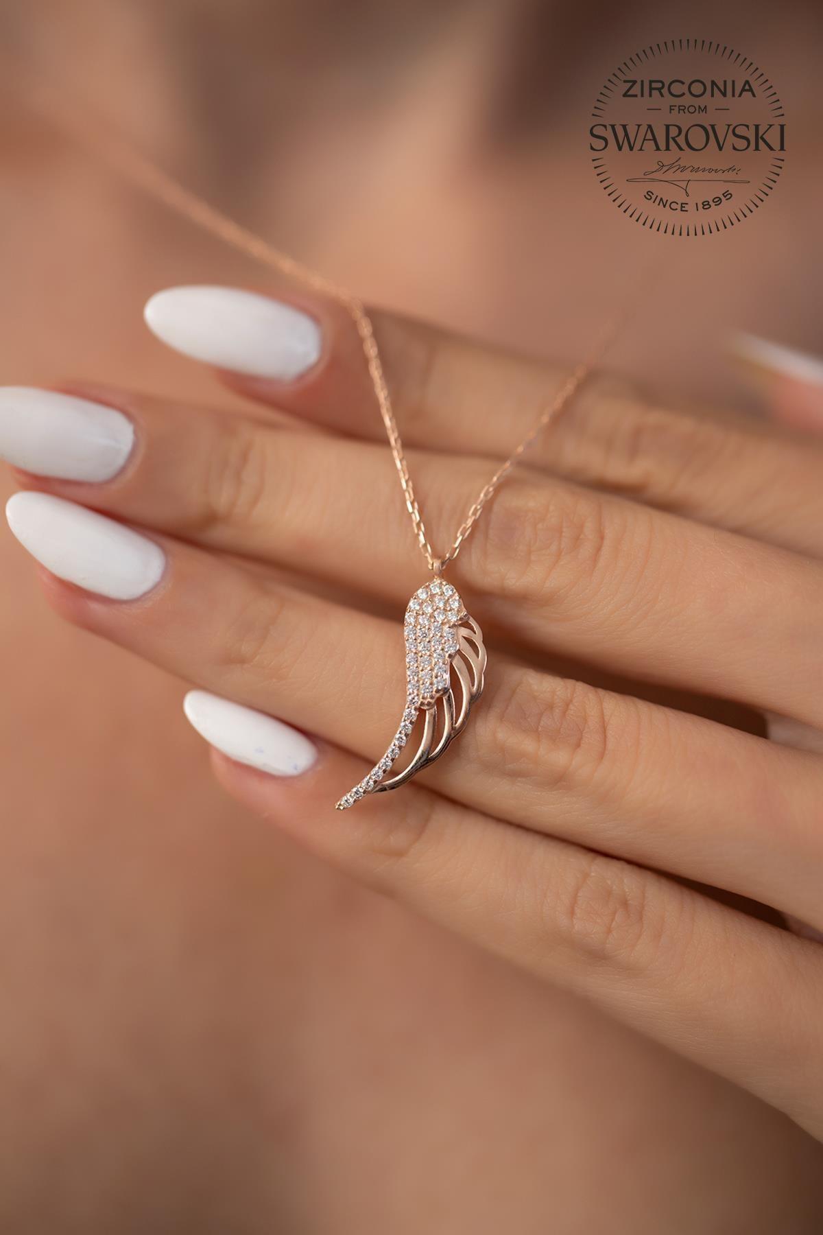 Ninova Silver Kadın Swarovski Taşlı Melek Kanadı Model Rose Kaplama Gümüş Kolye SBS0032 4