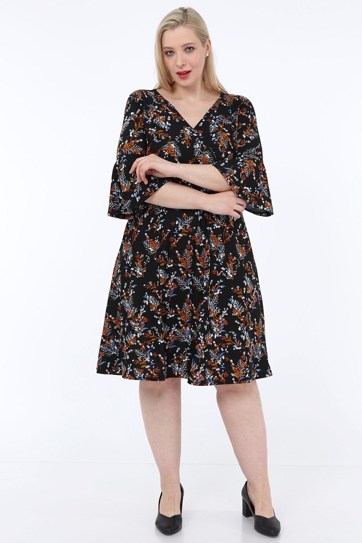 Kadın Siyah Çiçek Desenli Kruvaze Yaka Elbise KRV0020