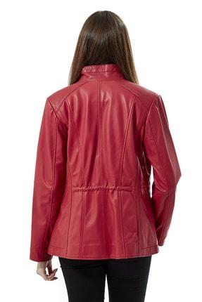 Deriza Kadın Dorette Kırmızı Deri Ceket 2075 3
