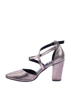Dgn 1101 Kadın Sivri Burun Parmak Dekolteli Çapraz Bilekten Bağlı Topuklu Ayakkabı 20Y 2