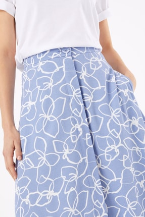 Marks & Spencer Kadın Mor Çiçek Desenli Düğmeli Midi Etek T59007245 1