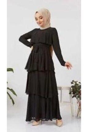 Kadın Siyah Tesettür Abiye Elbise Astarlı abiye elbise