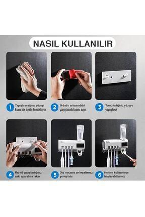Taled Akıllı Diş Macunu Sıkacagı Dispenser Uv Fırça Sterilizatör Tutucu 4
