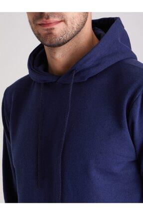 Dufy Erkek Indigo Kapüşonlu Kanguru Cepli  Slım Fıt Sweatshırt 1