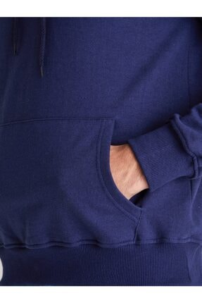 Dufy Erkek Indigo Kapüşonlu Kanguru Cepli  Slım Fıt Sweatshırt 3