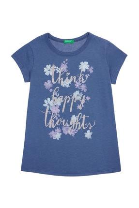 Benetton Mavi Kız Çocuk Kelebek Çiçek Baskılı Tshirt 0