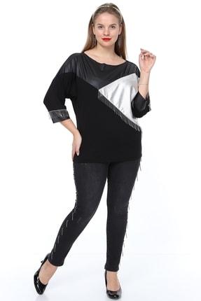 MJORA Kadın Siyah Deri Detaylı Zincir Saçaklı Bluz 1