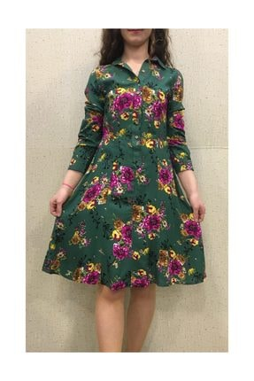 Viskon Elbise 123 zümrüt yeşil çiçekli elbise