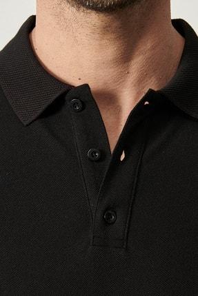 Altınyıldız Classics Erkek Siyah Polo Yaka Cepsiz Slim Fit Dar Kesim %100 Koton Düz Tişört 1
