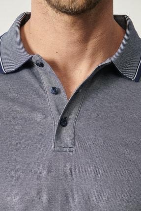 Altınyıldız Classics Erkek Lacivert Düğmeli Polo Yaka Cepsiz Slim Fit Dar Kesim Düz Tişört 1