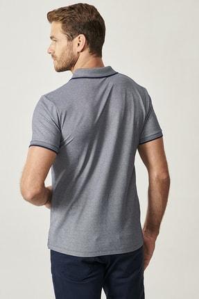Altınyıldız Classics Erkek Lacivert Düğmeli Polo Yaka Cepsiz Slim Fit Dar Kesim Düz Tişört 3