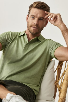 Altınyıldız Classics Erkek Yeşil Düğmeli Polo Yaka Cepsiz Slim Fit Dar Kesim Düz Tişört 2