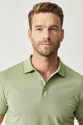 Altınyıldız Classics Erkek Yeşil Düğmeli Polo Yaka Cepsiz Slim Fit Dar Kesim Düz Tişört 3