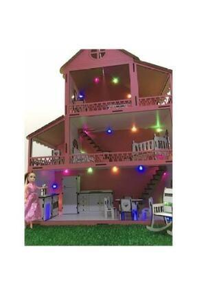 MYS Ahşap Işıklı Barbie Bebek Oyun Evi 1