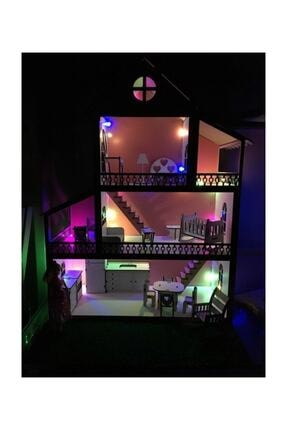 MYS Ahşap Işıklı Barbie Bebek Oyun Evi 2