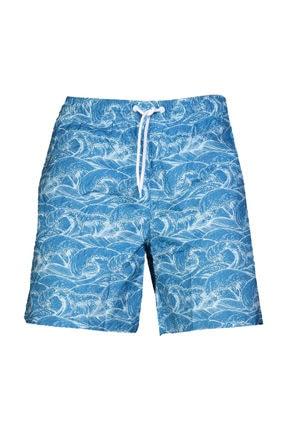 HUMMEL Erkek Mavi Desenli Deniz Şortu 0