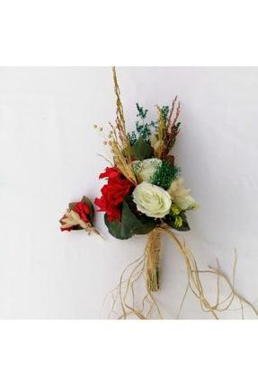Nevin Bütün Gelin Buketi Kırmızı Beyaz Damat Yaka Çiçeği Ikili Set 0