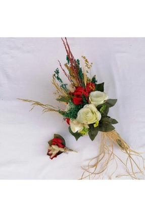 Nevin Bütün Gelin Buketi Kırmızı Beyaz Damat Yaka Çiçeği Ikili Set 2