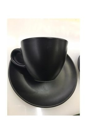 Güral Porselen Bistro Mat Siyah Çay Nescafe Fincanı 230 Cc 6 Lı 0