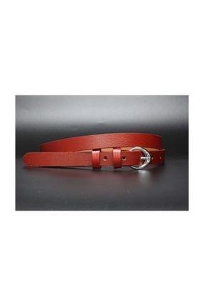Livize Hakiki Deri Kırmızı Kadın Kemeri 2cm 0