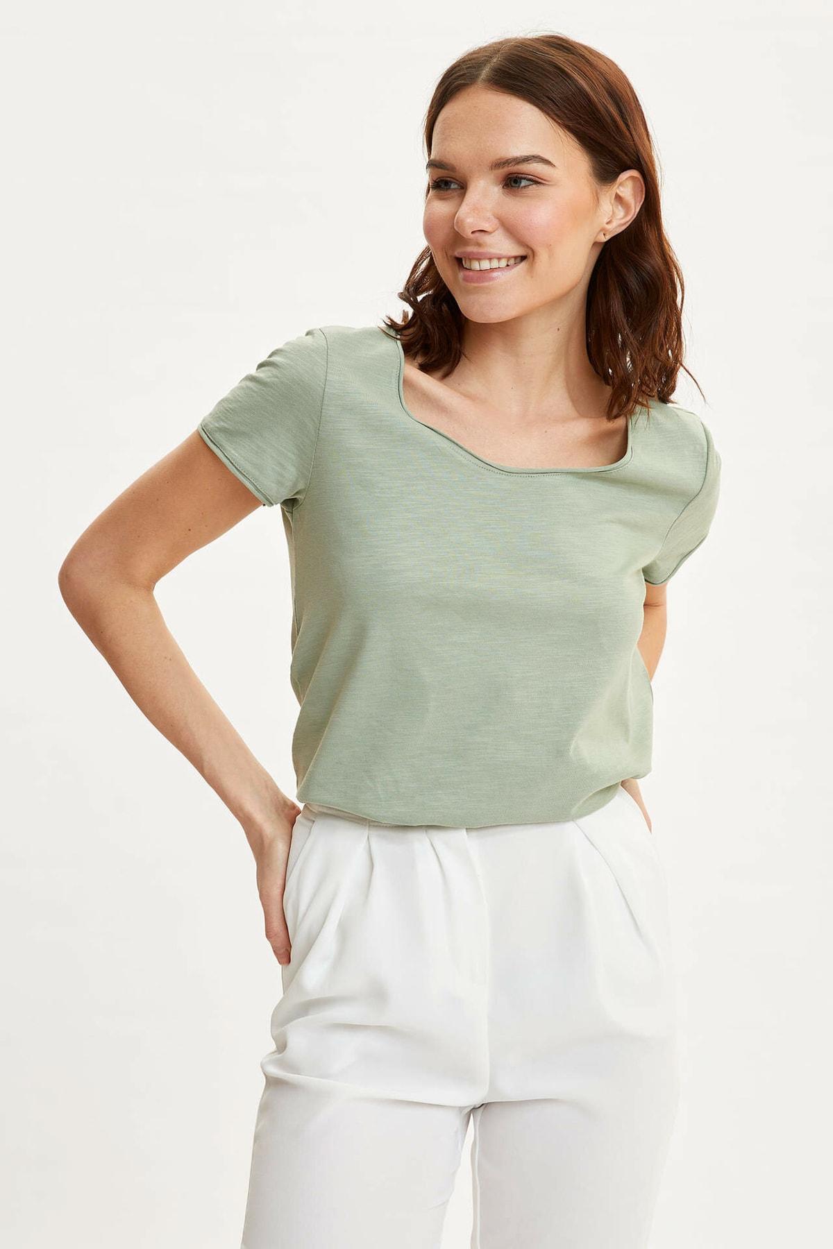 Kadın Turkuaz Pis Yakalı Kısa Kollu T-shirt K1508AZ.20SP.TR430
