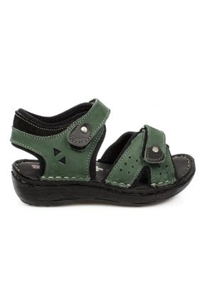 Toddler 7029 P Çift Cırt Yeşil Çocuk Sandalet 1