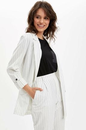 Defacto Kadın Beyaz Regular Fit Blazer Ceket N3733AZ.20SP.WT34 0