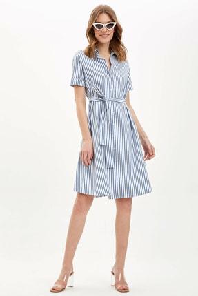 Defacto Kadın Mavi Regular Fit Çizgili Dokuma Elbise N0545AZ.20SP.BE399 1