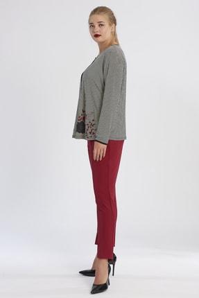 Büyük Moda Kadın Bordo Dar Paça Likralı Pantolon 2149 2