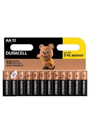 Duracell Alkalin AA Piller, 12'li Paket 0