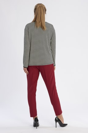 Büyük Moda Kadın Bordo Dar Paça Likralı Pantolon 2149 3