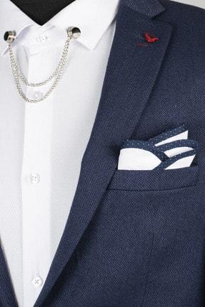 Erkek Lacivert-Beyaz Kenarı Biyeli Yaka Mendil RUBEY1901814