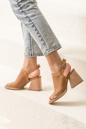 Elle PATRA Hakiki Deri Taba Kadın Sandalet 1