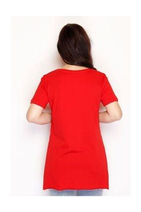 Lukas Yırtmaçlı Penye Tunik Tişört Kırmızı - 1063.275. 3
