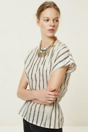 Yargıcı Kadın Lacivert Çizgili Kolsuz Bluz 0YKGM6116X 1