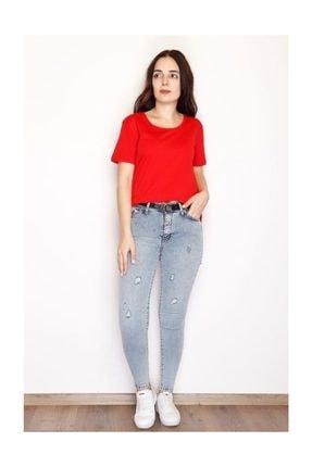 Lukas Yırtmaçlı Penye Tunik Tişört Kırmızı - 1063.275. 0