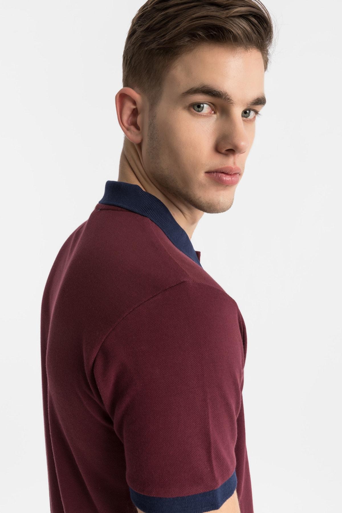 Erkek  Bordo Polo Yaka T-Shirt 012208452060890000