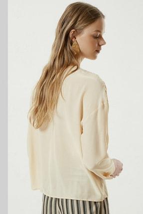 Yargıcı Kadın Şampanya Roba Detaylı Gömlek 0YKGM6133X 2